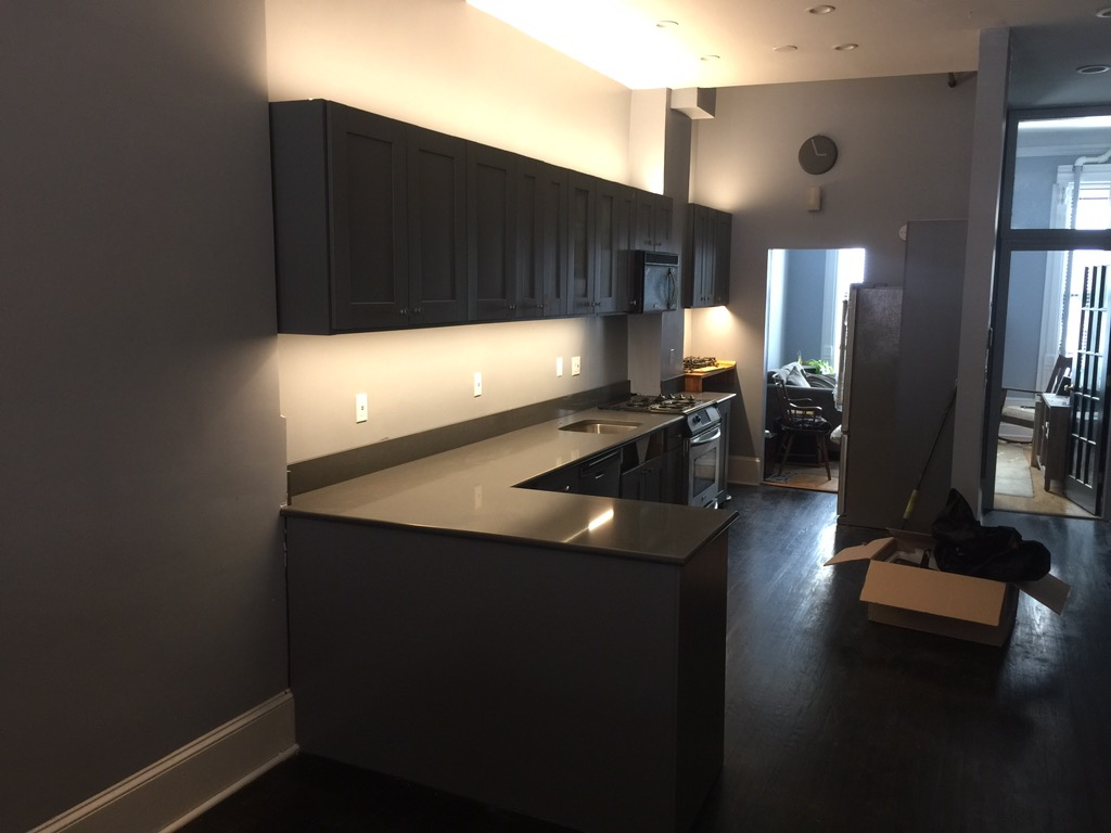 Completed kitchen cabinet painting project in Manhattan