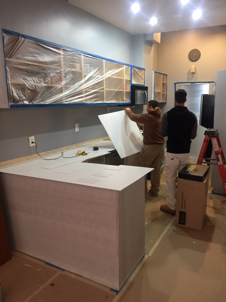 Templating for the new corian counter that we part of the Kitchen makeover.